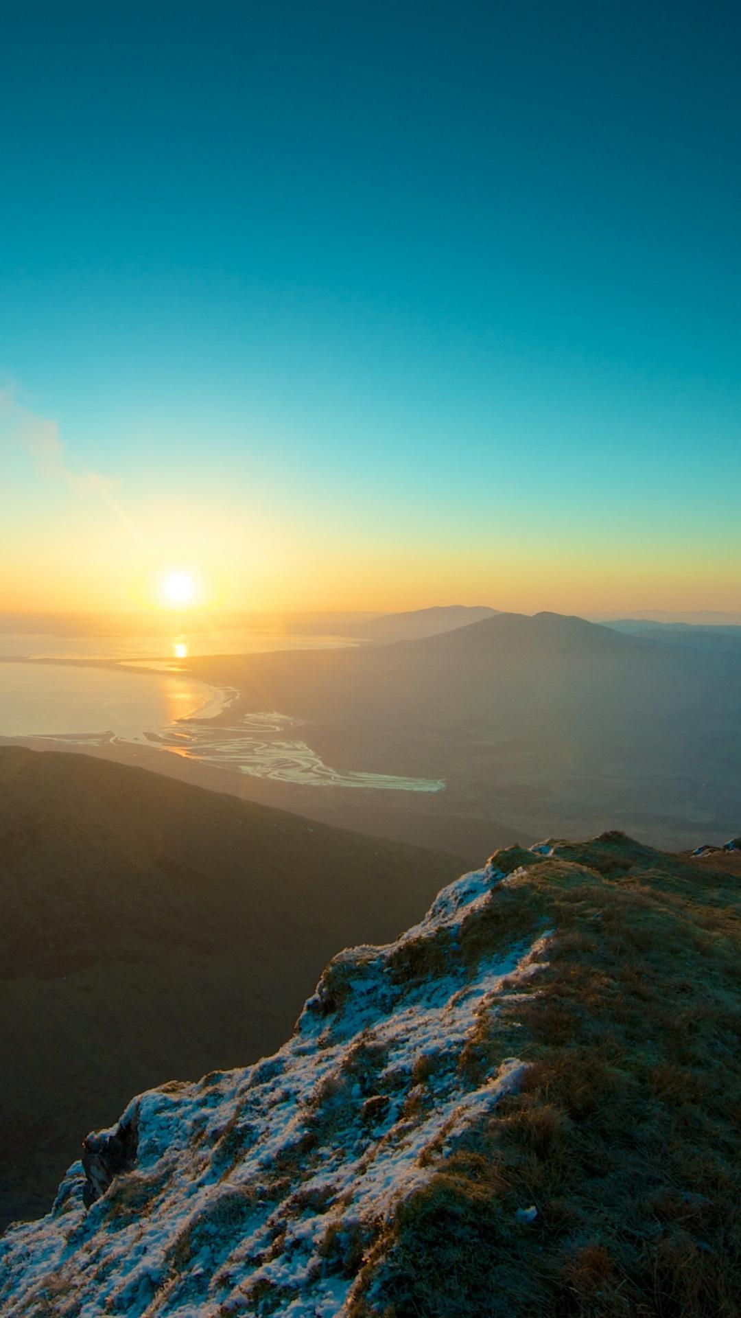 Wallpaper iPhone retina Parallax mountains sky sunset peaks Mountain : Sky Sunset
