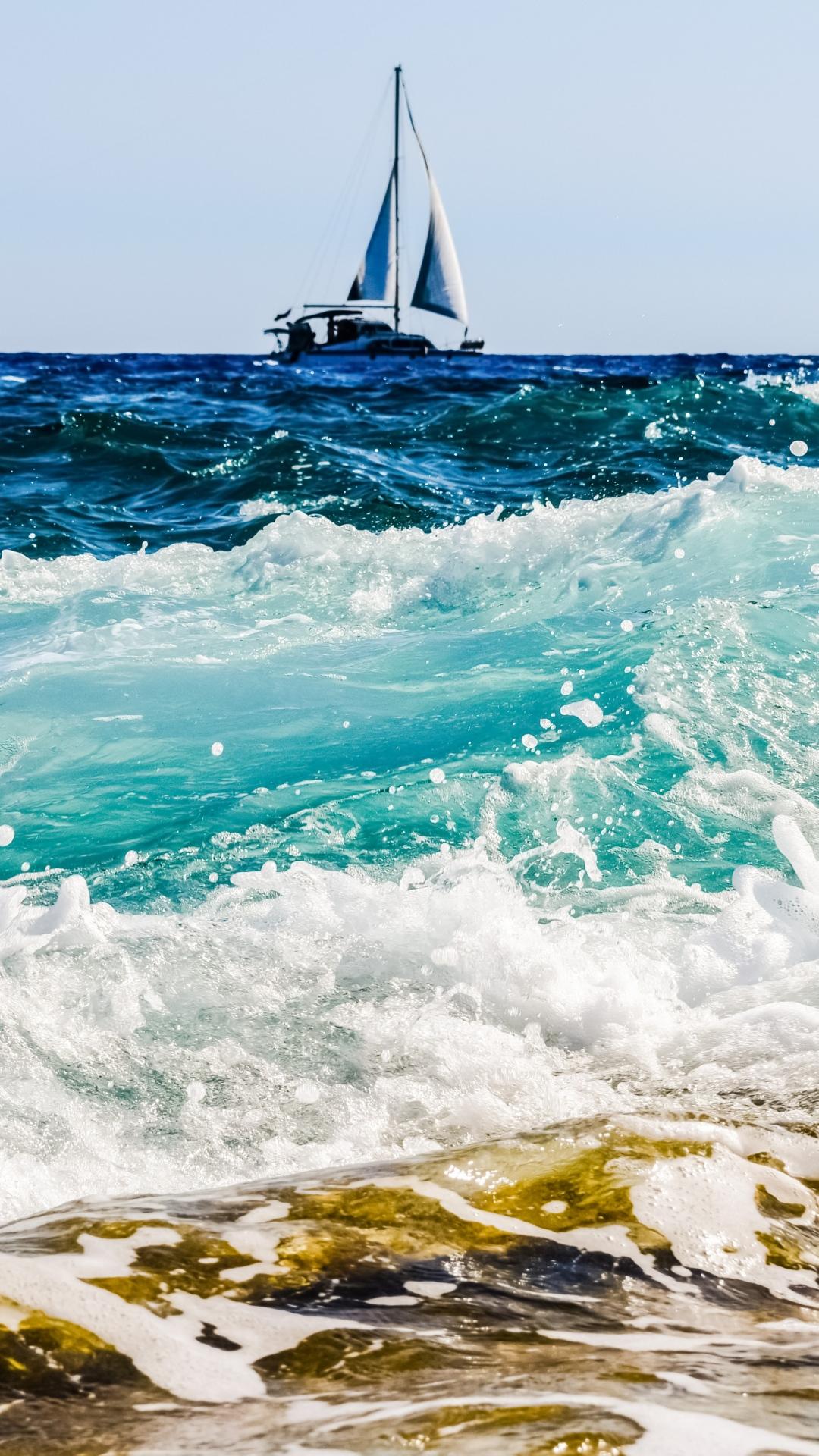 wallpaper iphone sea boat surf foam Sea