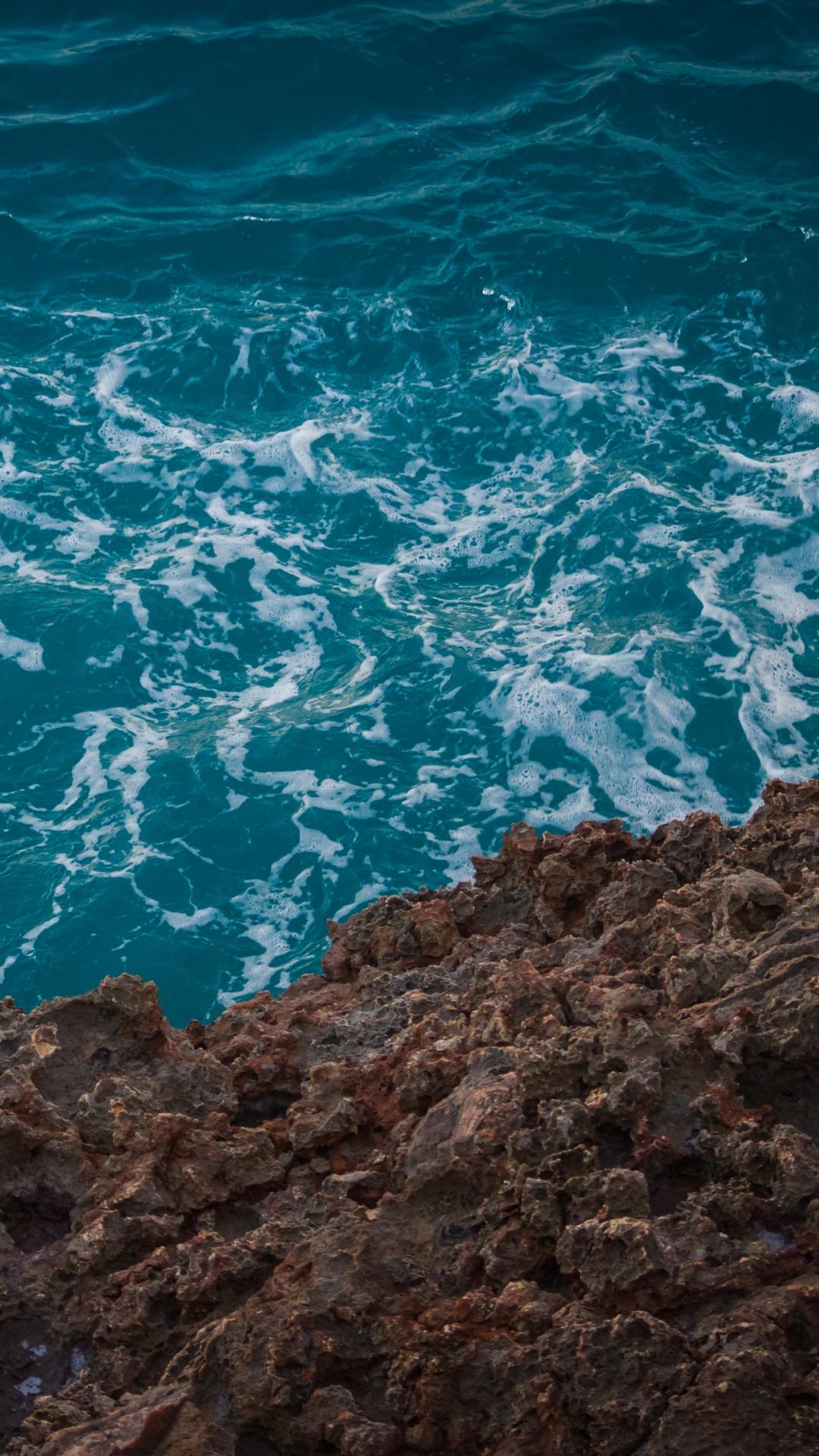 iphone wallpaper sea stones foam water Nature