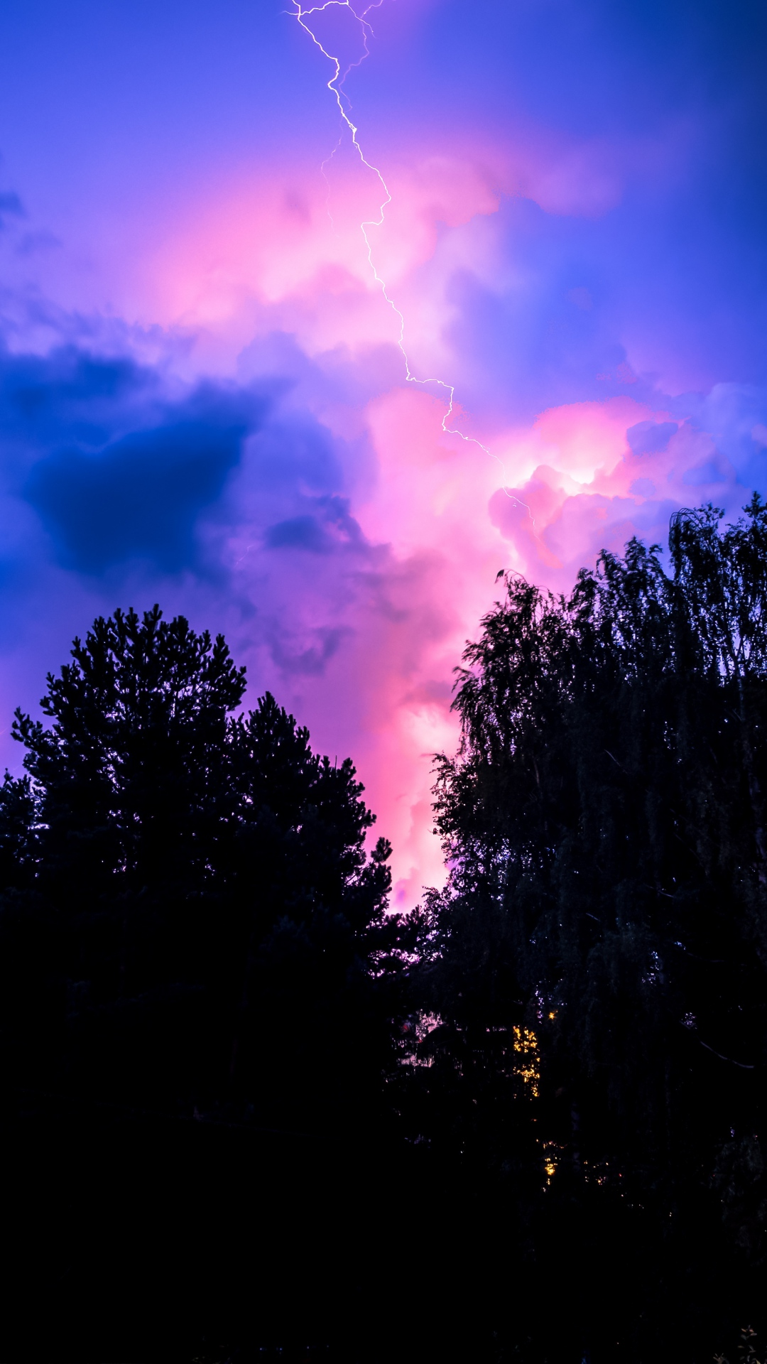 iphone wallpaper storm sky trees night Nature