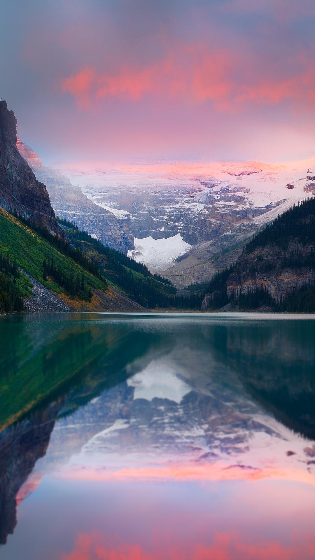 mountains sunset lake sky snow peaks 93192 1080x1920 Mountain