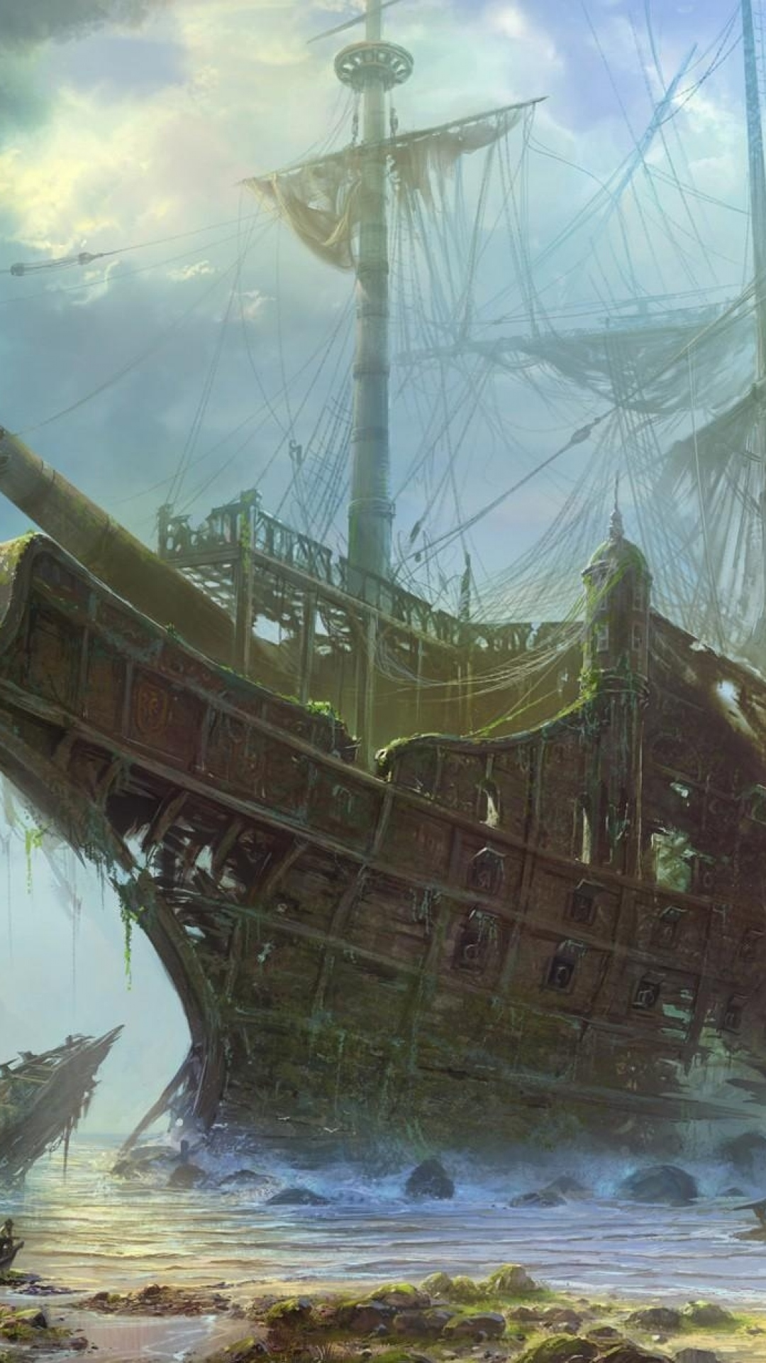 iphone wallpaper ships old wreckage Ship