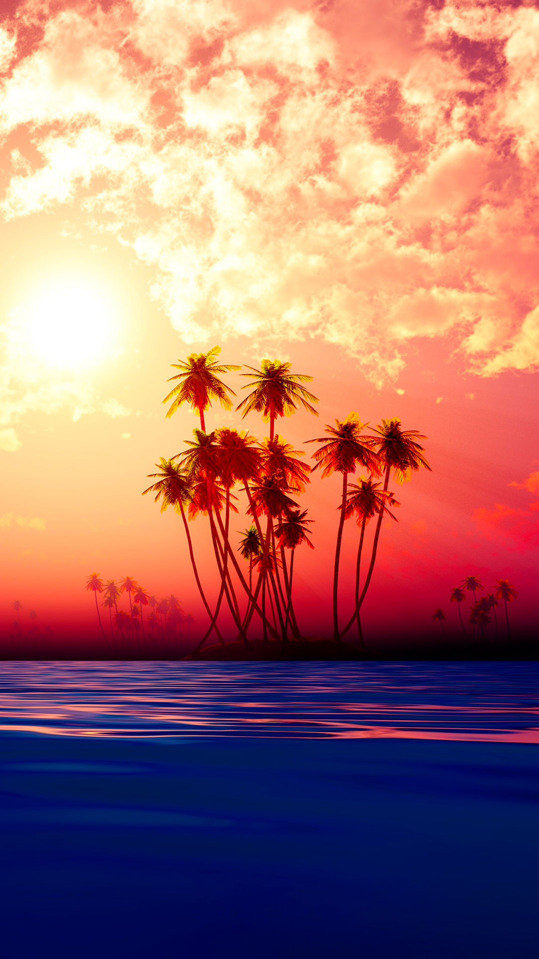 iPhone wallpaper island sunset Island