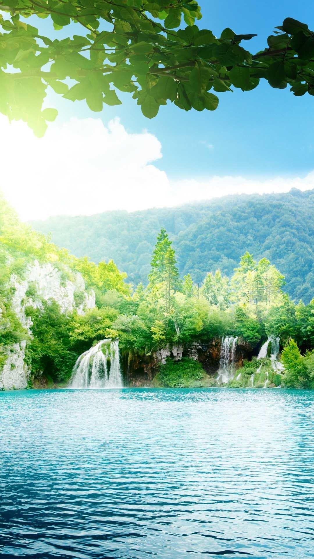 iPhone wallpaper waterfall lake Lake