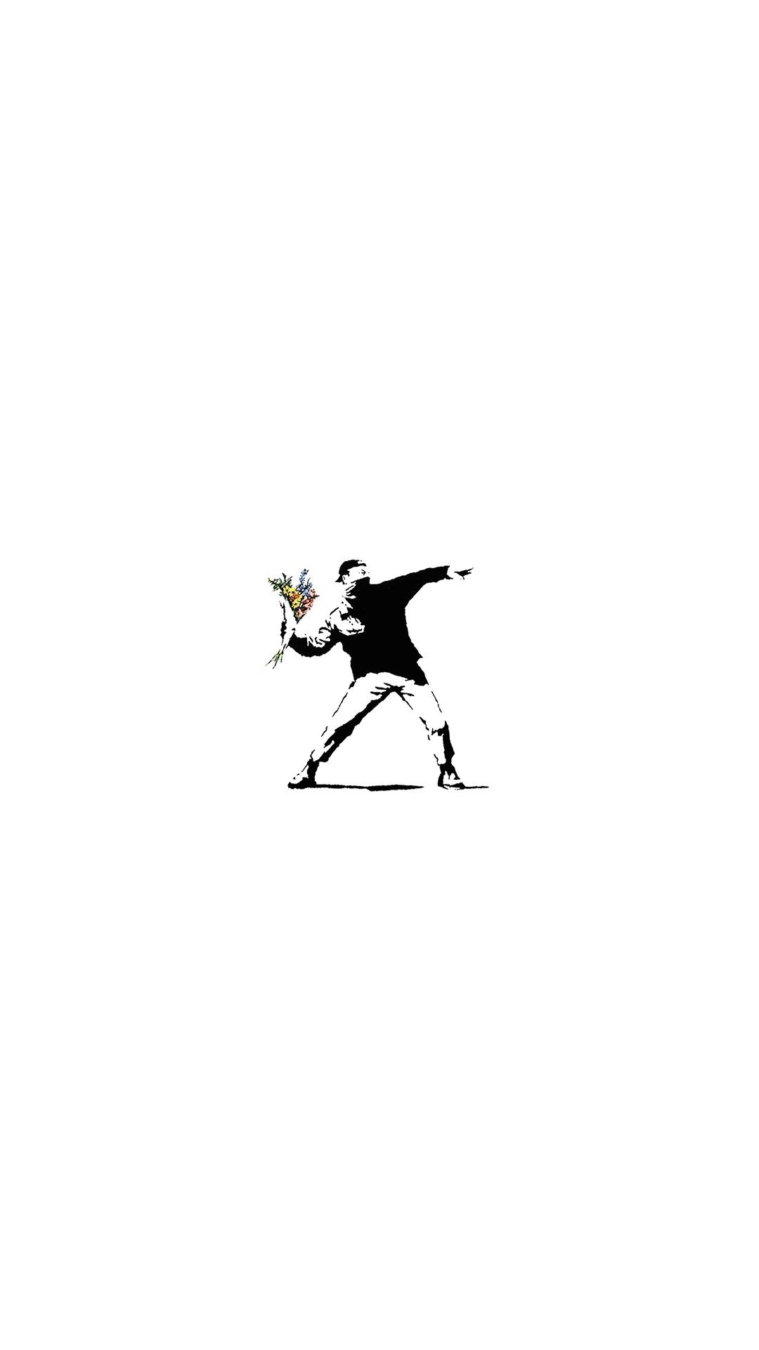 iPhone wallpaper banksy throw flowers Banksy