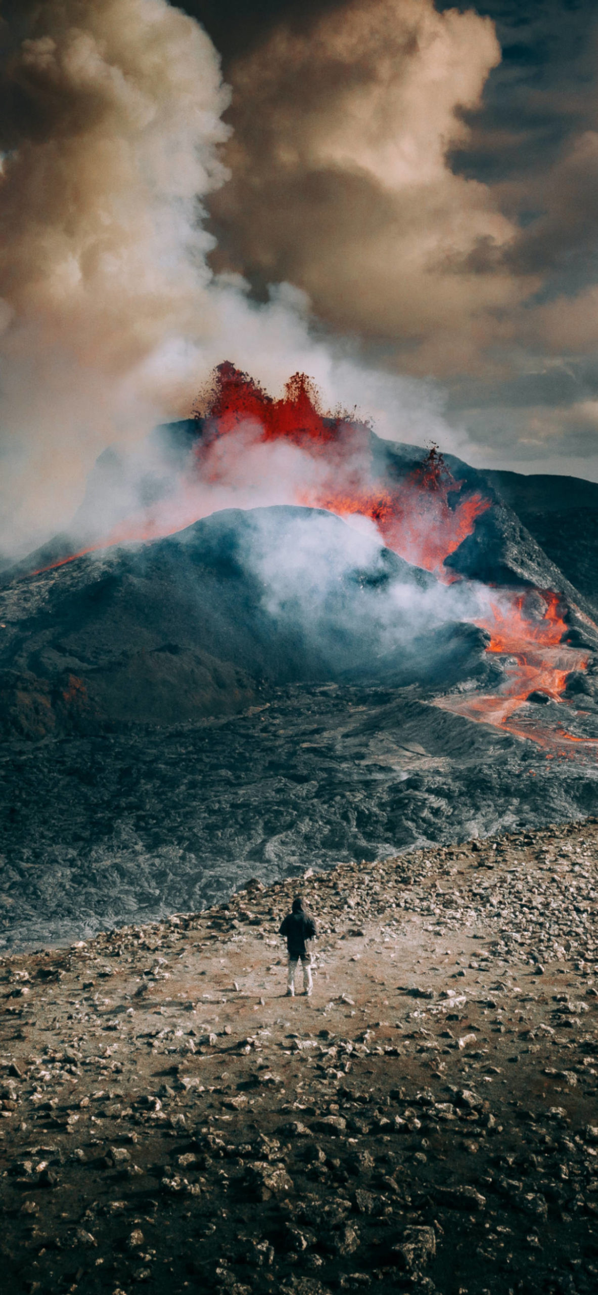 iPhone wallpapers lava volcano man scaled Lava