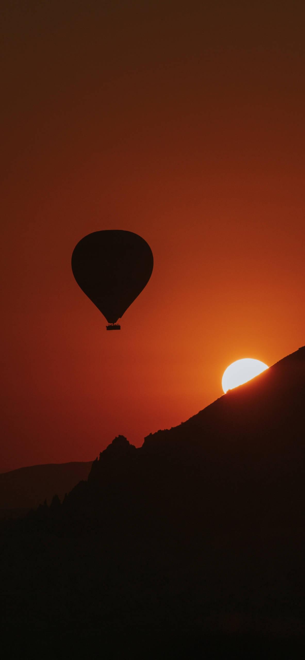iPhone wallpapers sunset mountain balloon Sunset