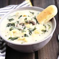 Slow Cooker Creamy Tortellini Spinach and Mushroom Soup