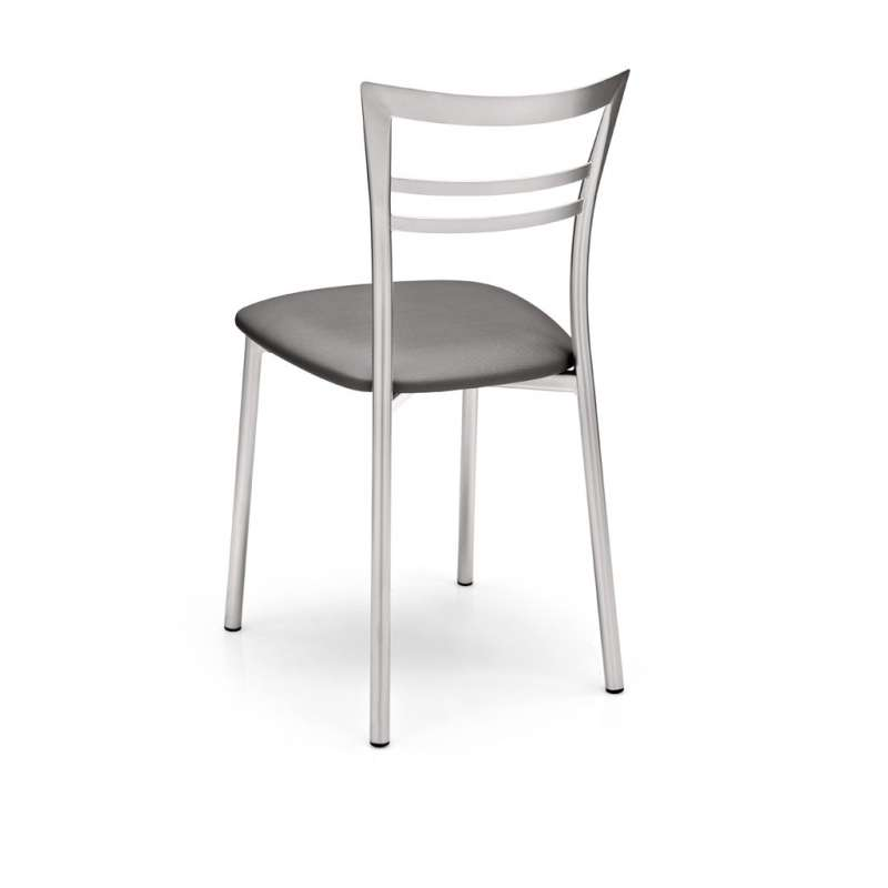 chaise de cuisine rembourree grise en metal go 3