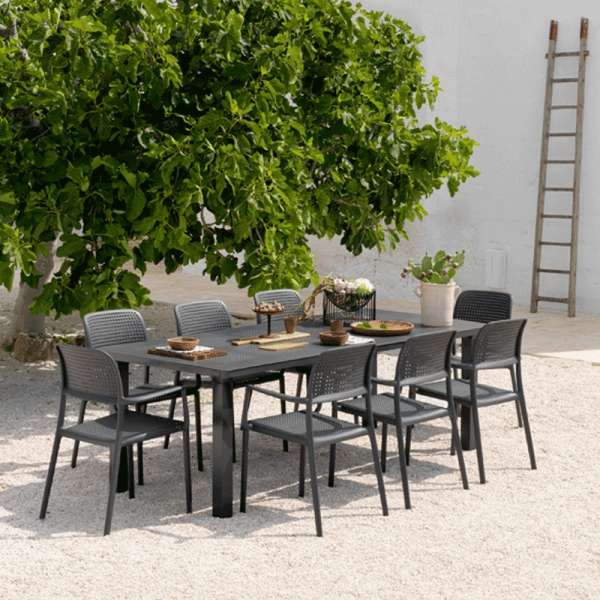 Table de jardin avec allonge en polypropyl    ne et aluminium   Levante     Table de jardin avec allonge en polypropyl    ne et aluminium   Levante