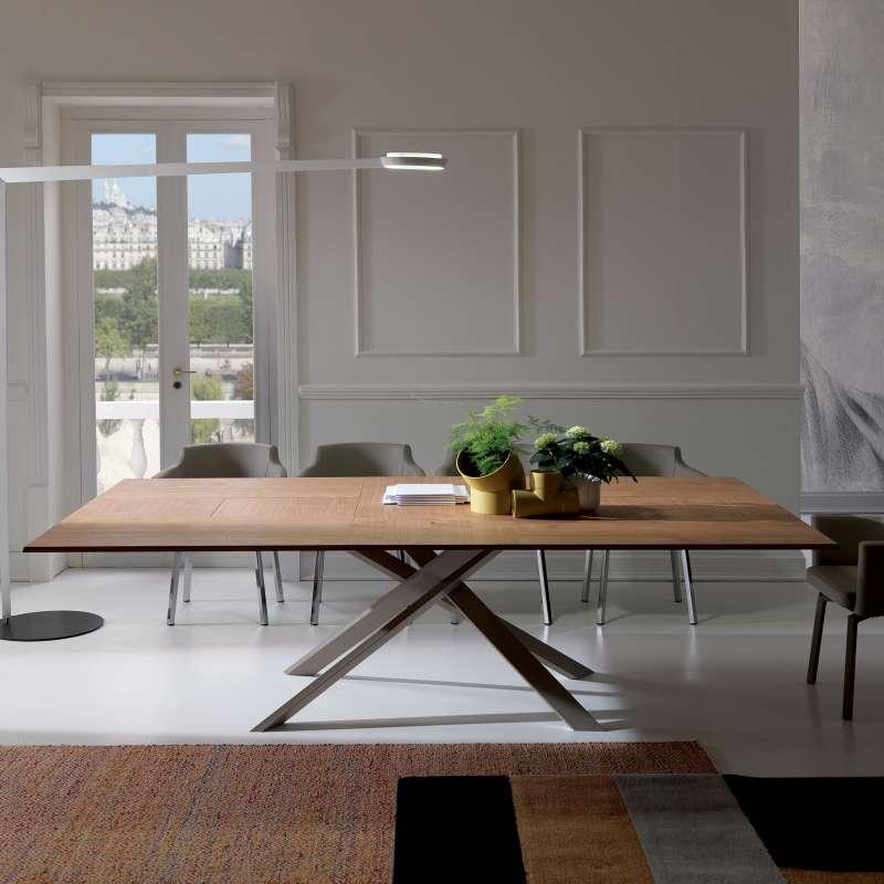 Table Design Extensible Rectangulaire En Bois Et Mtal