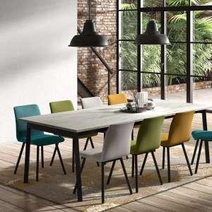 table avec allonge en stratifie effet marbre et metal victoria