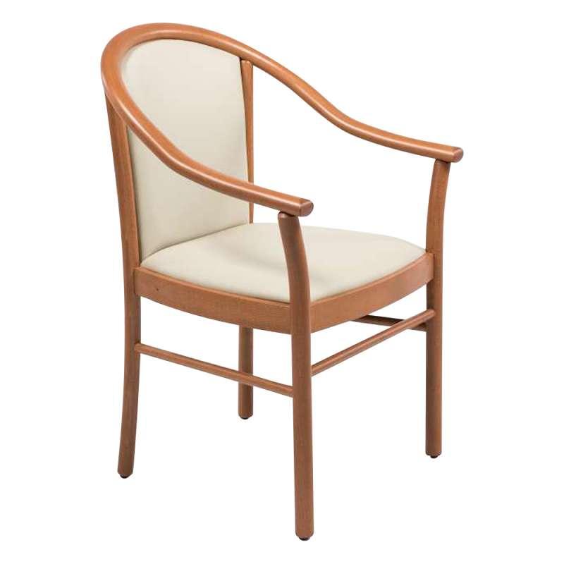 fauteuil bridge de salon beige en bois avec assise et dossier rembourres manuela 6