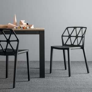 chaise design empilable en plastique polypropylene noir alchemia connubia