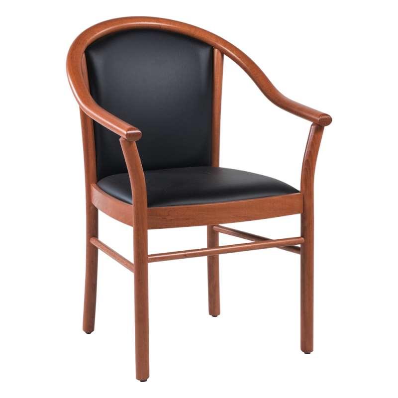 fauteuil bridge de salon en bois avec assise et dossier noirs rembourres manuela 1