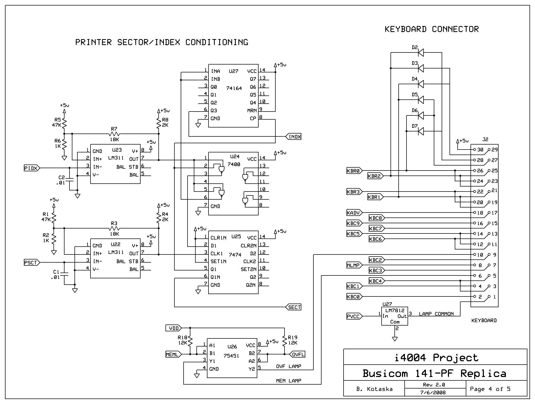 Busicom 141 Pf Replica Schematics Model 102 Printer Emulator