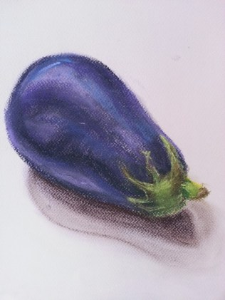 Aubergine study SRW pastel on paper by Sibel Roller-Walach