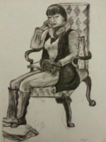 Reading by Sibel Roller-Walach, Charcoal 2013
