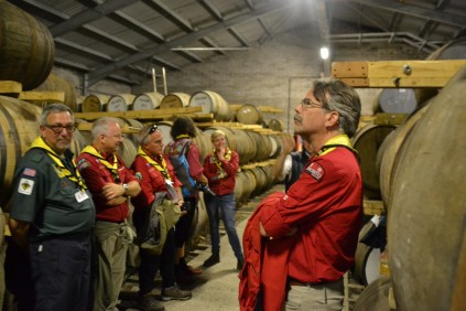 Scouters touring a local distillery