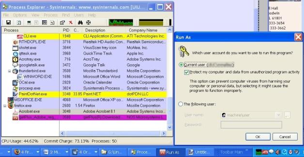 Process Explorer shows the culprit at work.