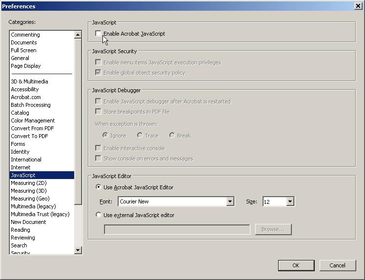 Prevent the latest exploit in Adobe Acrobat, Disable