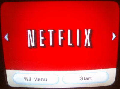 Netflix start screen on Wii