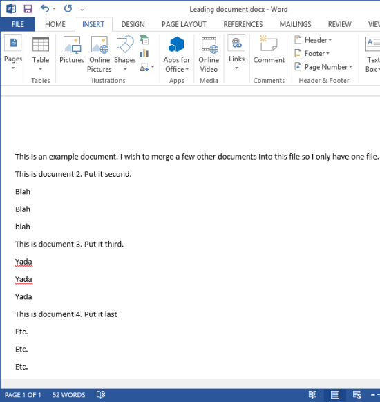 merge multiple word documents results