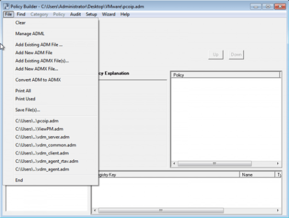 Converting VMware View GPO adm templates to  admx files
