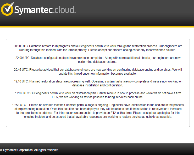 symanteccloud_outage. Resume Example. Resume CV Cover Letter