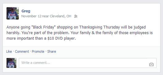Black Friday Facebook Post