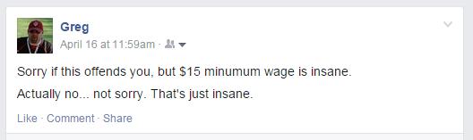 Minimum Wage Facebook Post