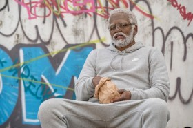 """Kyrie Irving as """"Uncle Drew"""" in UNCLE DREW. Photo courtesy of Lionsgate."""