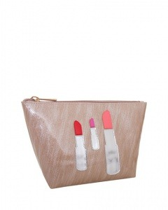 Lolo BagsMedium Avery Cosmetics Bag, Brushed Rose Gold Lipstick