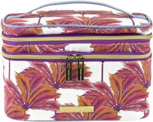Tartan + Twine Coral Palm Double Zip Train Makeup Case