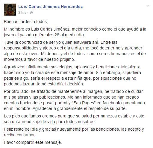 El mensaje de Luis Carlos