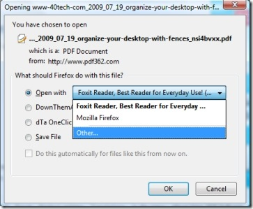 PDF Download dialog window to select Evernote