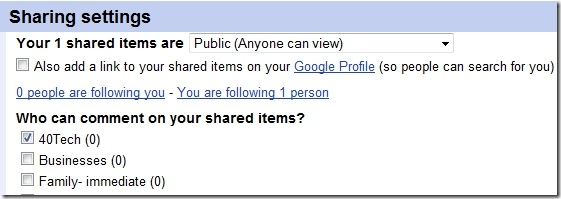 Google Reader Sharing