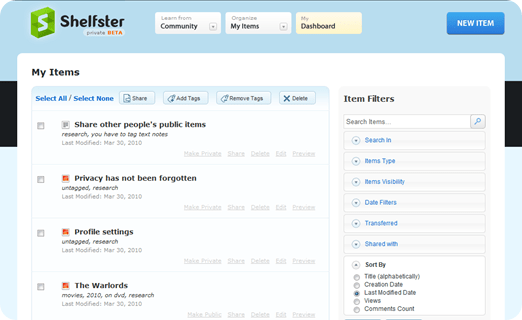 Shelfster | Prettier than Evernote, and nearly as functional