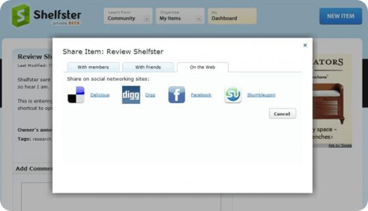 Shelfster | Share your notes with some of your foavourite social networks