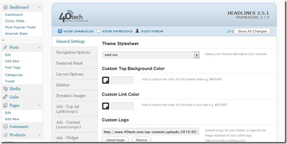 WooThemes Headlines options page