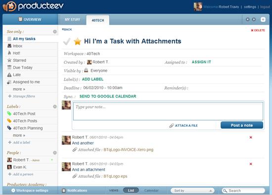 Producteev Task Detail Screen