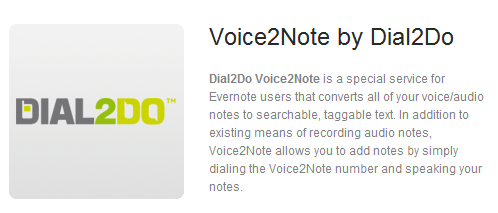 Dial2Do Voice2Note on Evernote Trunk