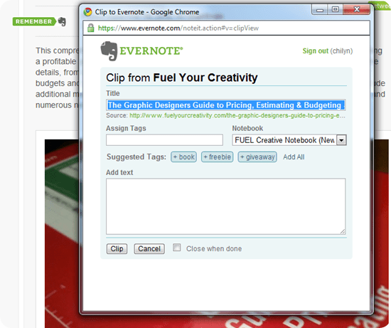 Evernote Site Memory in Action on Fuel Your Creativity