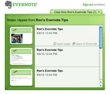 Evernote Site Memory Favourites Feature
