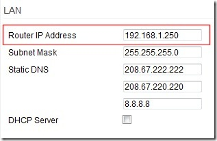 set ip address of router used as access point