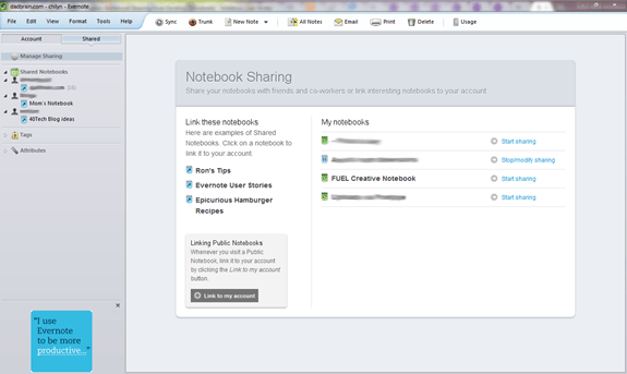 Evernote Windows Notebook Sharing Feature | 40Tech