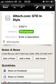 GTD in Springpad 2 | 40Tech Reader Workflow