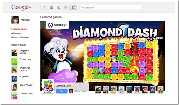 Google+ Games Homepage Screenshot