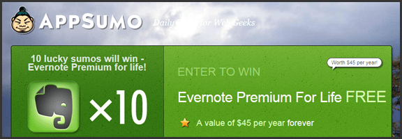 AppSumo Contest is Giving Away 10 Evernote Premium Accounts -- for Life! | 40Tech