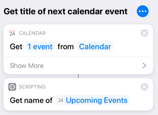 Shortcut to get title of next calendar event